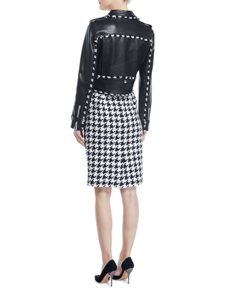 Zip-Front Cropped Leather Moto Jacket w/ Houndstooth Trim