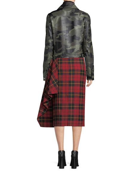 Camo-Print Leather Bomber Jacket