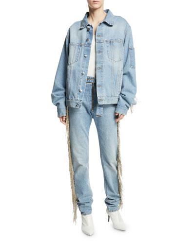 Oversized Fringe Jean Jacket and Matching Items