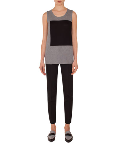 Square-Panel Round-Neck Sleeveless Wool Knit Top  and Matching Items