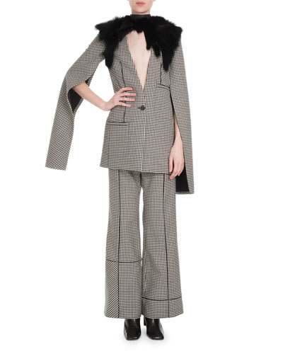 High-Waist Flared-Leg Check Wool Pants w/ Piping and Matching Items