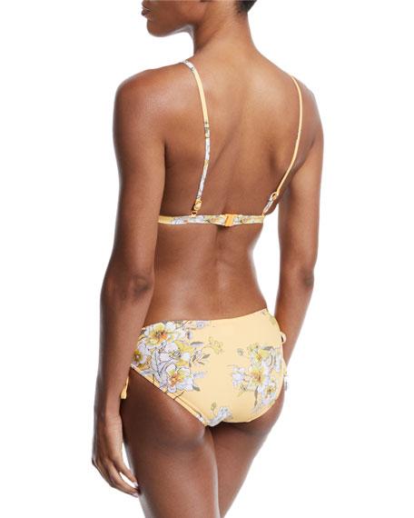 Midsummer Floral-Print Triangle Bikini Swim Top