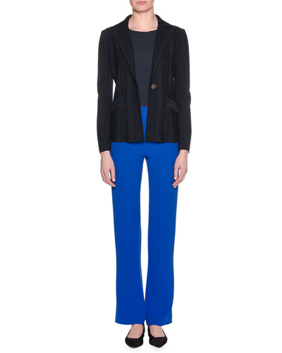 Single-Breasted One-Button Tonal-Striped Jacket and Matching Items