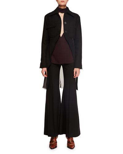 Button-Front Wool-Blend Combo Jacket w/ Chiffon Hem and Matching Items