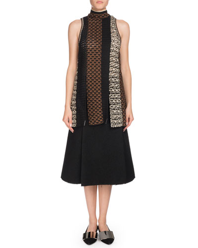 Sleeveless Tie-Neck Multicolor Crochet Tunic  and Matching Items