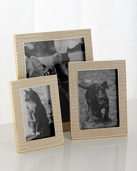 """Classic Croc-Embossed Leather Frame, 8"""" x 10"""""""