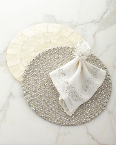 Ritz Embroidered Linen Napkin  White/Silver and Matching Items
