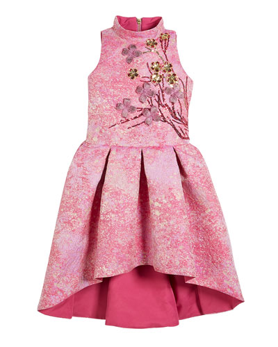 Morgan Metallic High-Low Dress w/ 3D Floral Applique, Size 4-6X and Matching Items