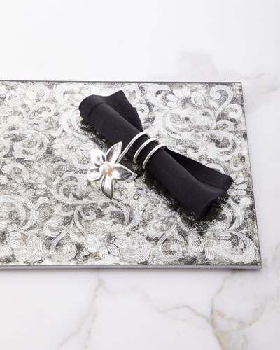 Silver Flower Vine Wrapped Napkin Ring  and Matching Items