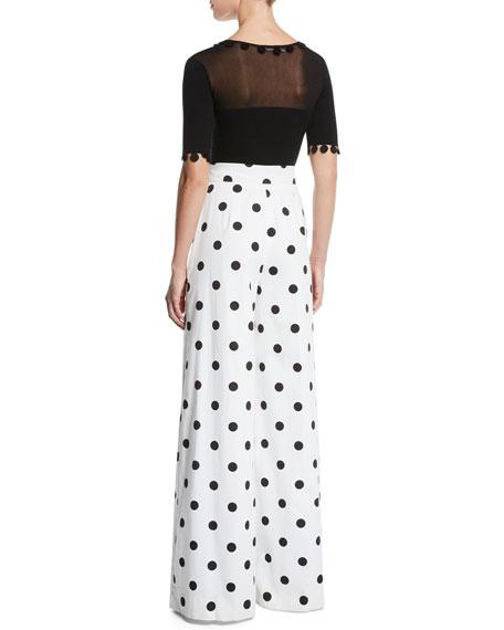 Sheer-Yoke Dot-Trim Short-Sleeve Knit Top