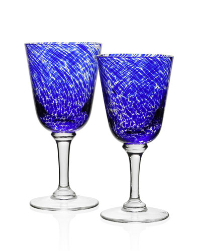 Vanessa Glass Water Goblet  Blue and Matching Items