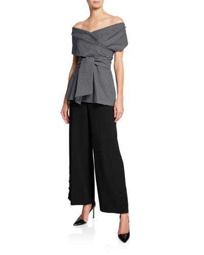 One-Shoulder Wrap-Tie Printed Peplum Top and Matching Items