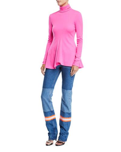 Turtleneck Long-Sleeve Peplum Wool-Jersey Top and Matching Items