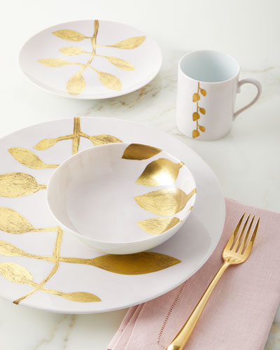 Daphne Camelia Gold-Leaf Dessert Plate  Pink and Matching Items