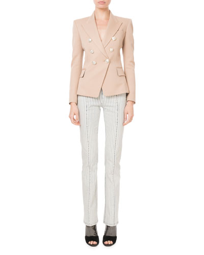 Double-Breasted Silver-Button Classic Blazer and Matching Items