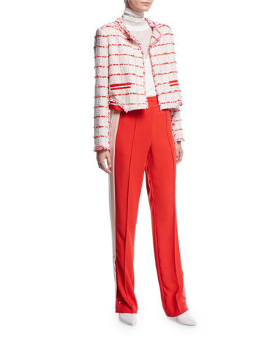 Cropped Check Frayed Boucle Jacket and Matching Items