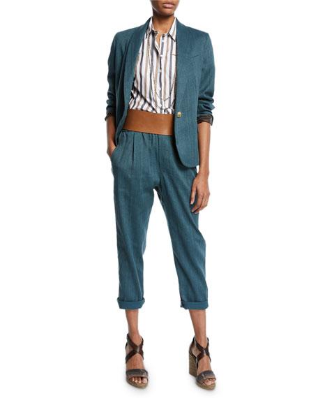 Monili-Collared Chevron Cotton-Linen Button-Front Blazer