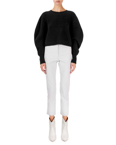 Cashmere Cropped Puff-Sleeve Sweater and Matching Items