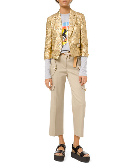 Floral Metallic-Jacquard Embroidered Jacket