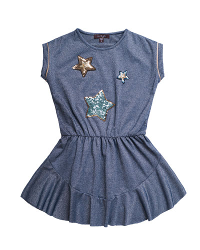 Solid Jersey Dress w/ Star Sequin Patches  Size 4-6  and Matching Items