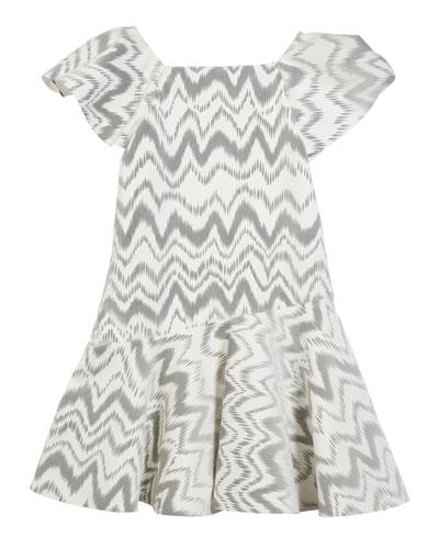 Kenzie Flocked Knit Zigzag Dress