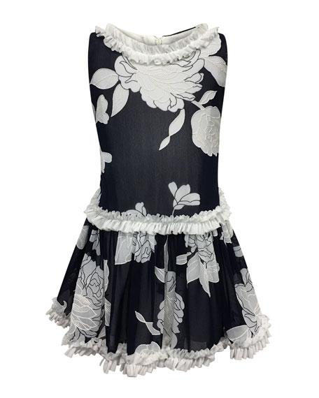 Peony Embroidered Ruffle-Trim Dress, Size 4-6
