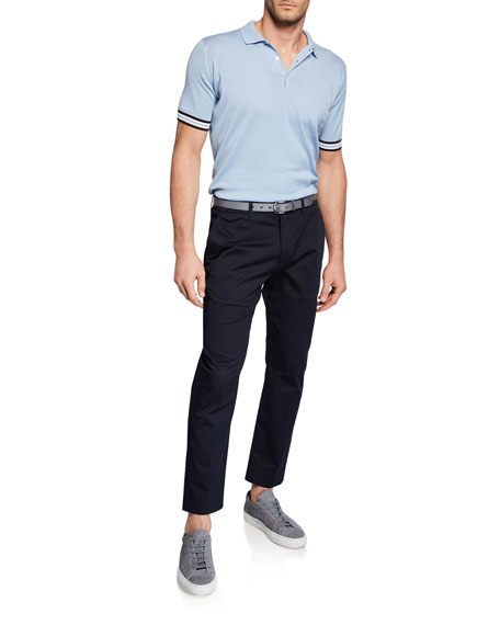Men's Knit Contrast Tipping Short-Sleeve Polo Shirt