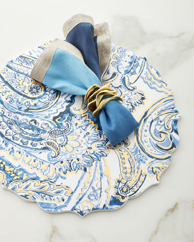 Dip-Dye Linen Napkin  Navy/Blue and Matching Items