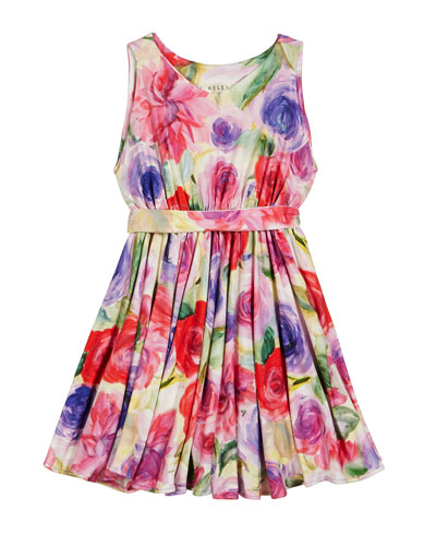 Pastel Rose Print Knit Dress  Size 2-6  and Matching Items