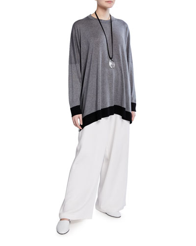 Contrast Hem Ultra Lightweight Raw Silk Top and Matching Items