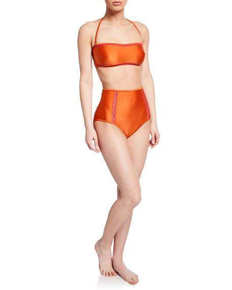 Solid Bandeau Bikini Top with Stitching