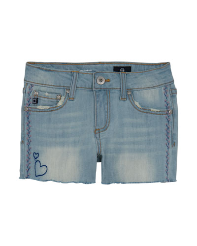 Girls' Garden Distressed Denim Shorts w/ Embroidery  Size 4-6X  and Matching Items