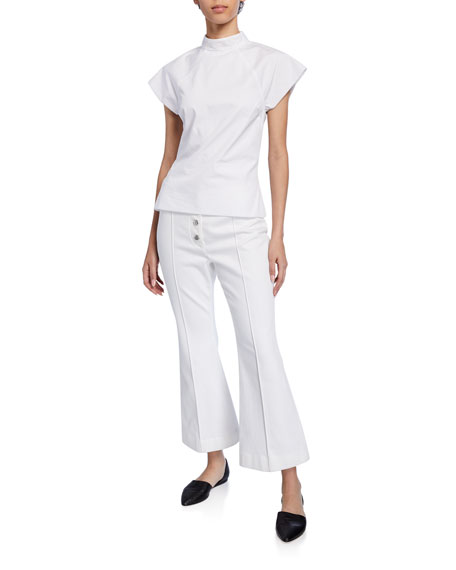 Mock-Neck Cap-Sleeve Poplin Top