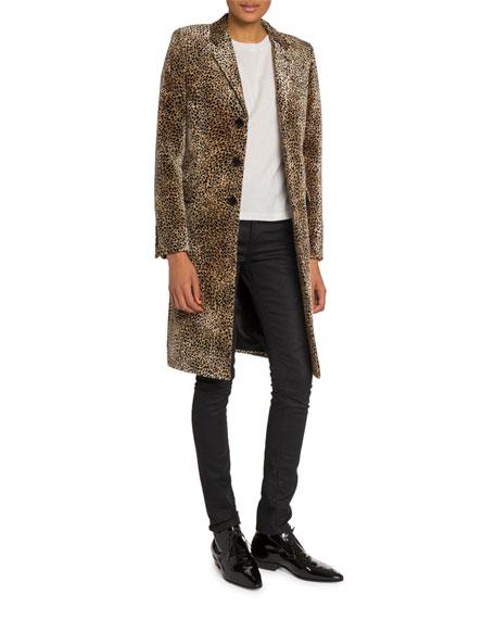 Mini Leopard Print Velvet Coat
