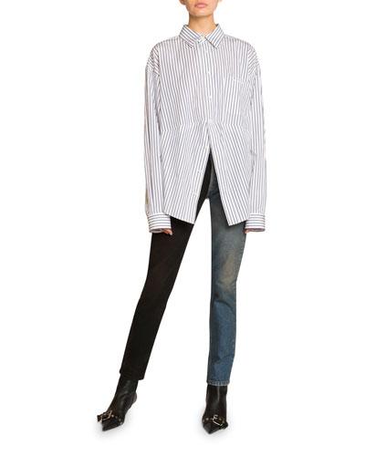 Pinstriped Cotton Boyfriend Shirt & Jeans
