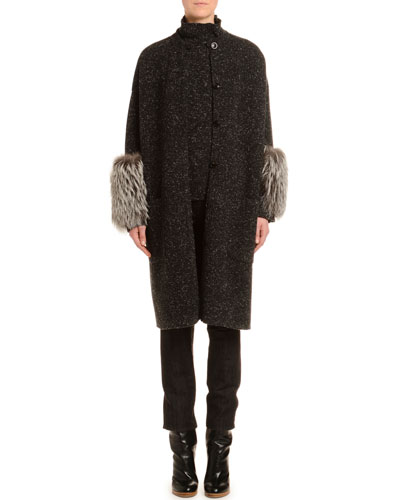 Melange Cashmere-Tweed Turtleneck Sweater  Black/White and Matching Items