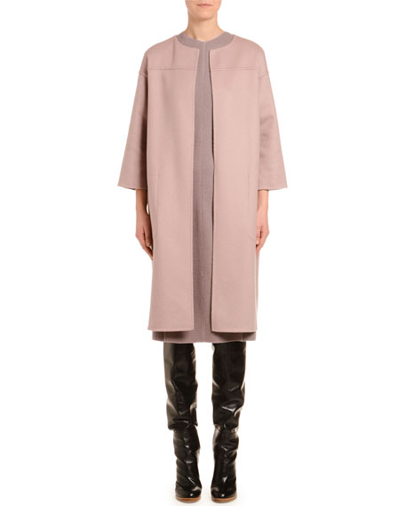 Cashmere 3/4-Sleeve Double-Face Coat