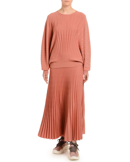 Dolman-Sleeve Pleated Wool Sweater