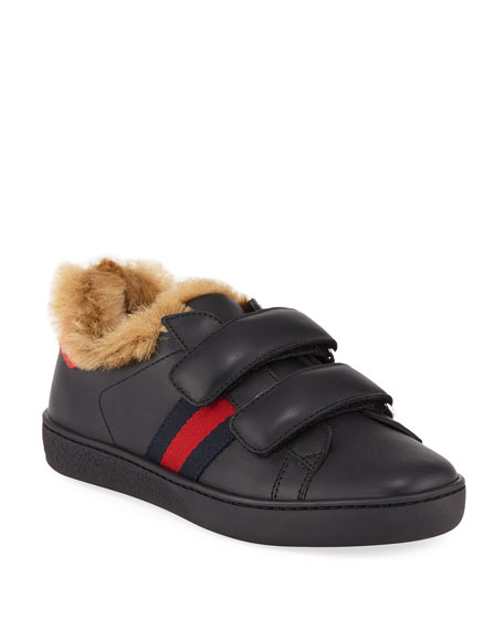 New Ace Web-Trim Leather Sneakers w/ Faux-Fur Lining, Toddler