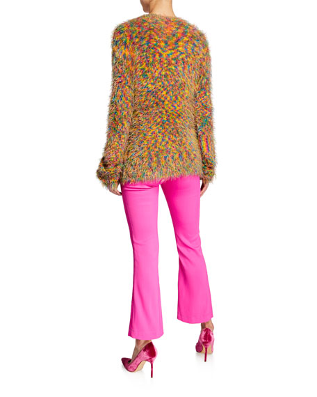 Long-Sleeve Crewneck Fuzzy Sweater