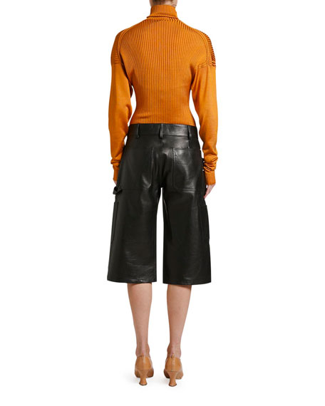 Wide-Leg Leather Culotte Shorts
