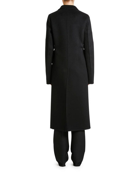 Double-Wool Button-Front Long Coat