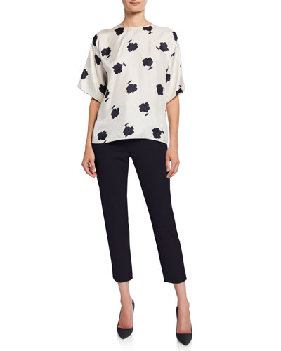 Balenio Floral-Print Short-Sleeve Silk Blouse and Matching Items