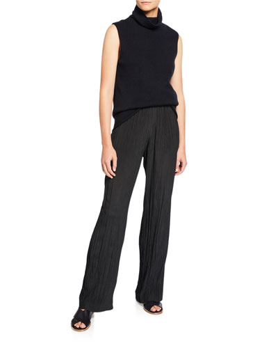 Sleeveless Ribbed Funnel-Neck Cashmere Top and Matching Items