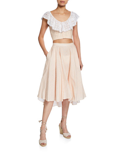 Effie Linen Cropped Blouse with Lace and Matching Items