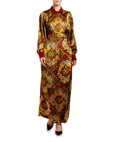 Tiger & Floral Print Maxi Dress
