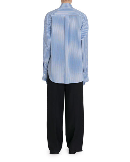 Striped Button-Front Slashed Shirt
