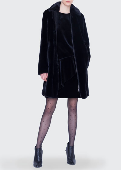 Knee Length Faux-Fur Zip-Front Coat and Matching Items