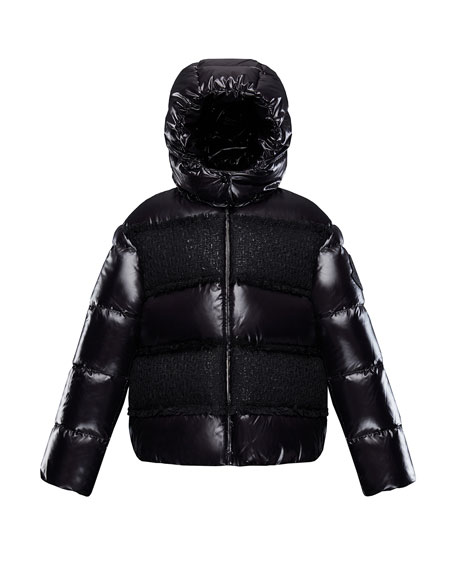 Elbe Detachable-Hood Puffer Coat w/ Tweed, Size 4-6