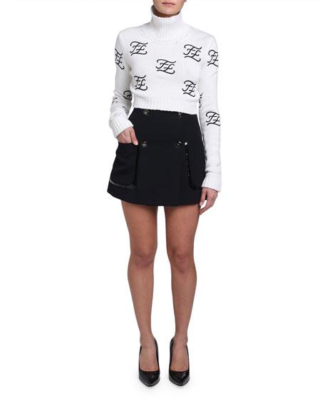 Wool-Cashmere Funnel Turtleneck Logo Sweater